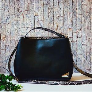 Kensie Black with Faux Snake Skin Large Tote Bag
